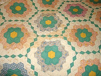 "Antique Vintage Honeycomb Hexagon Patchwork Cotton Quilt Nice 82"" X 71"" Full"