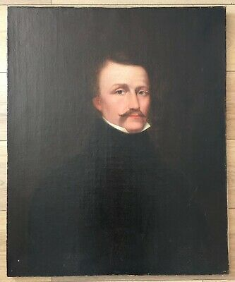 Antique Large 19th Century Oil On Canvas Portrait Painting Of A Gentleman