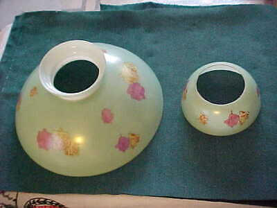 """Victorian ERA 10"""" Painted Floral Glass Gas Table Lamp Shade & Bobeche Undershade"""