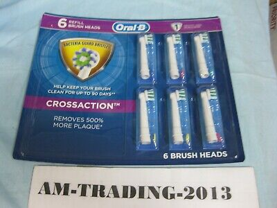 6 Pack of Oral B CROSS ACTION Braun Replacement Toothbrush Heads EB50AB-6