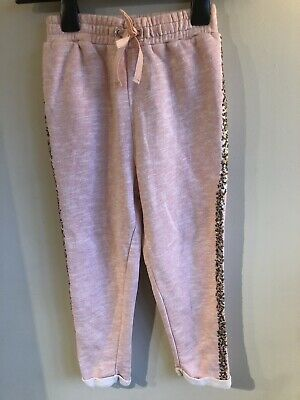 NEXT Girls Joggers Age 6 Yrs Pale Pink With Side Seam Sequin Detail & Pockets