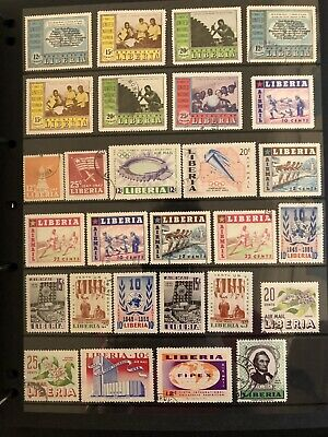 Liberia Stamps - 1950's - Mixed Page Of 28 Stamps