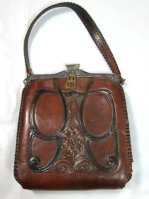 Antique Arts & Crafts Tooled Leather Purse w/ Suede Inner Art Nouveau 1918 JEMCO