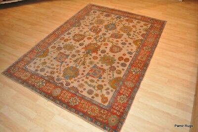TOP QUALITY OUSHAK 5' X 7'  finely woven, beige, blue, peach, Orange Ivory gold