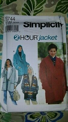Simplicity Misses' Jacket Pattern 9744 Easy 2 Hour Coat Size XS S M UNCUT