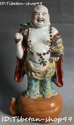 China Color Porcelain Wealth Money Bag Ruyi Happy Laugh Maitreya Buddha Statue