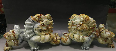 "11""Chinese Jade Handwork Carving Foo Fu Dog Guardion Lion Leo Pair Animal Statue"
