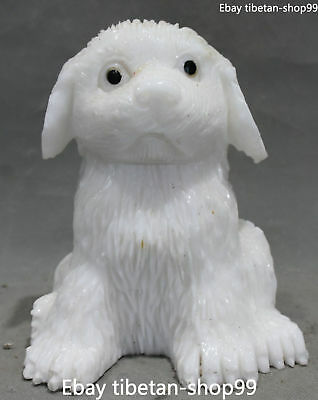 20CM Unique Chinese Natural White Jade Pure Hand-carved Dog Dogs Animal Statue
