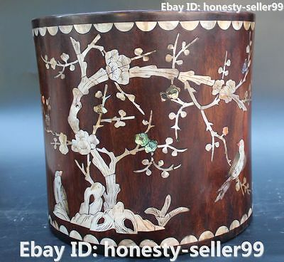 """12"""" Chinese Huanghuali Yellow pear Wood Plum Blossom  Pen Container Pencil Vase"""