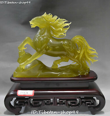 """12"""" Natural Green Jade Carving Wealth Running Horse Horses Succeed Animal Statue"""