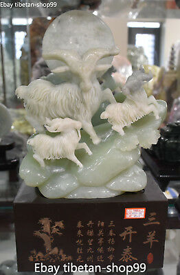 Chinese 100% Natural Green Jade Handwork Carving Three Sheep Goat Goats Statue