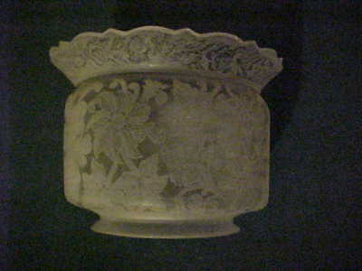 """GREAT Victorian Era Deep Acid Etched Floral Crown Top Gas Shade 5"""" Fitter"""