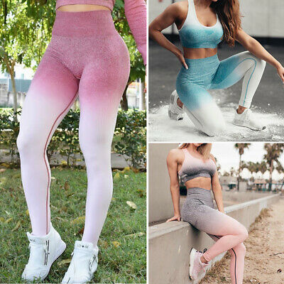 47cb45d12b1f1 Women's Seamless Leggings Ombre Yoga Pants Gym Sports Stretch Fitness  Trousers O