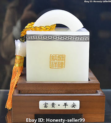 Rare Chinese Natural White Jade Handwork Carving Words Seal Stamp Signet Statue