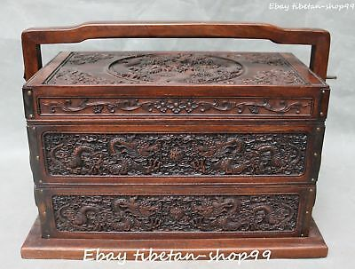 """14"""" China Boxwood Wood Ancient Dragon Tuck Box Pastry Case Storage Boxes Statue"""