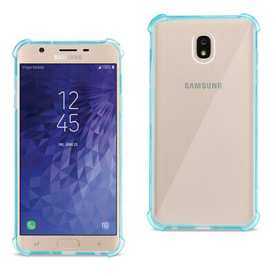 Reiko Samsung J7(2018) Clear Bumper Case With Air Cushion Protection Clear Navy