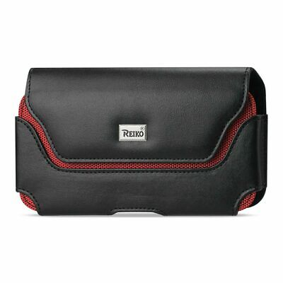 Reiko Horizontal Leather Pouch With Red Bee Nest Interior Black 6.4X3.5X0.6 Inch