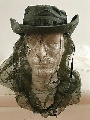 dcc1cf3815f8f U.S. Military Vietnam era Olive Drab Boonie Hat w Insect net.Dated 1969.