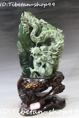 "15"" Natural Green Jade Feng Shui God Beast Dragon Mountain Loong Shanzi Statue"