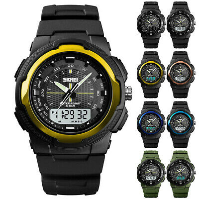 Men's Military Leather Date Quartz Analog Army Casual Dress Wrist Watches CHF