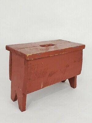 Small Wood Milking Stool Plant Stand Red Chippy Distressed Step, Primitive VTG