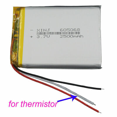 3.7V 2500mAh 3 wires thermistor Polymer LiPo Battery For GPS Music player 605068