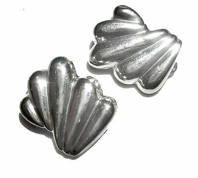 Sterling Silver Large Clip Earrings Thailand Hill Tribe Silver