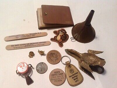Lot of Assorted Vintage Items Junk Drawer Wooden Tokens Funnel Boy Scout Pins