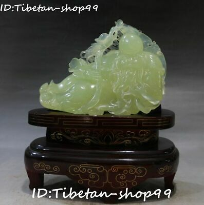 "9"" Natural Green Jade Shouxing God Ganoderma Older Man Ruyi Dragon Gourd Statue"