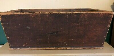 Primitive Collectible Pine Canted Dough Box w/ Wood Handles Red Paint