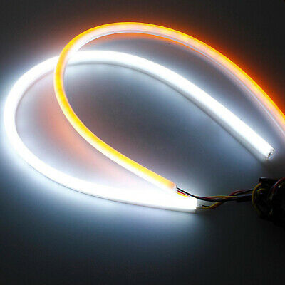2x 45cm Flexible DC12V Car Tube LED Strip Light DRL Switchback Turn Signal Lamps