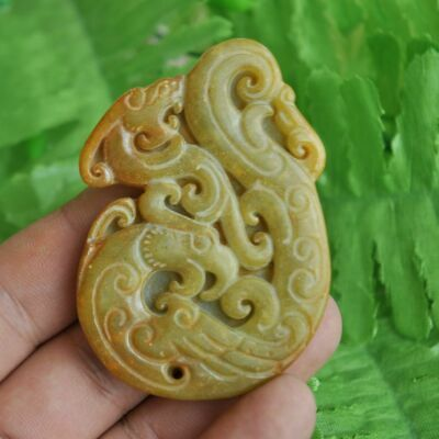 Chinese ancient old hard jade hand-carved pendant necklace ~Dragon Phoenix M28