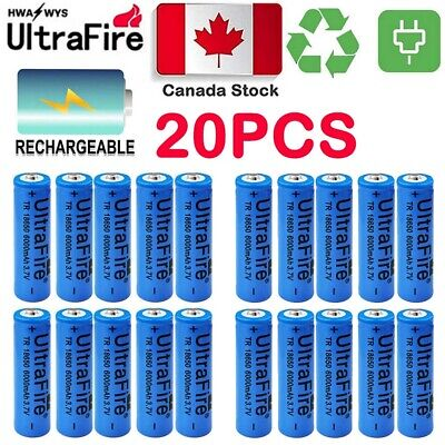 20X Ultrafire 6000mAh 18650 Battery 3.7V Lithium Rechargeable Battery CA Stock