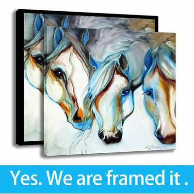 Wall Art Home Decor HD Print Wild Horses Canvas Painting Animal Abstract 12x12