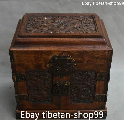 26CM China Wood Ancient Dragon Loong Jewelry Box Jewel Case Casket Boxes Statue