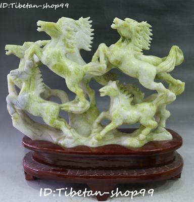 "13"" Collect Natural Green Jade Running Success Horse Zodiac Year horses Statue"