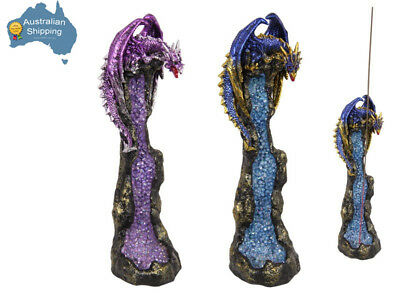 2 x Dragon Incense Burner Holder SET Blue + Purple Crystal Collectable