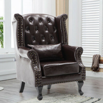Chesterfield Leather Wing Back Armchair Accent Chair Fireside Lounge Vintage Tan