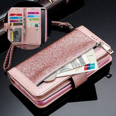 For Samsung S8 S9 Bling Glitter Leather Zipper Purse Coin Wallet Card Phone Case