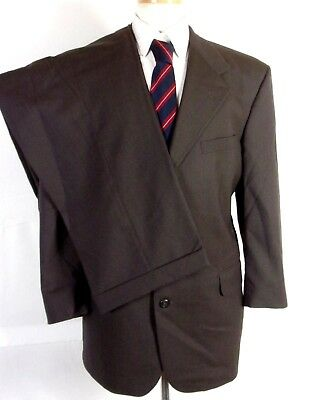 MEN/'S PURE WOOL DARK BROWN PINSTRIPE FORMAL BUSINESS SUIT /& TROUSERS VARCE