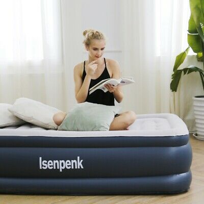 Double Single Flocked Camping Airbed Inflatable Mattress Blow Up Air Bed w/ Pump