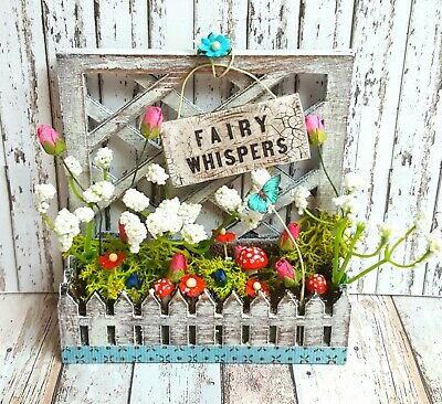 Doll house 12th scale shabby chic trellis filled planter fairy garden themed