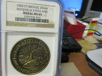 1983 Ridgefield CT 275TH Anv. Bronze NGC MS 65 39mm SCD