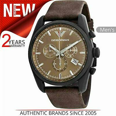 Emporio Armani Sportivo Men's Watch AR6078¦Brown Chronograph Dial¦Leather Strap