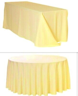 Ivory Satin Tablecloth Table Cover Cloth Round Rectangular Square Wedding Decor
