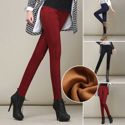 Women Winter Thermal Thick Warm Fleece Lined Stretch Pants Skinny Slim Legging