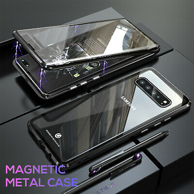 For Galaxy S10 5G S10 Plus S9 Plus Magnetic Metal Tempered Glass Case Cover