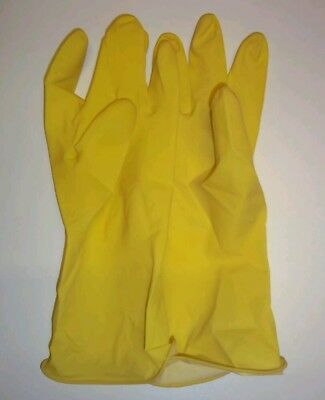 Rubber Dish Washing Household Gloves Flock Lined Latex Gloves - Yellow Small