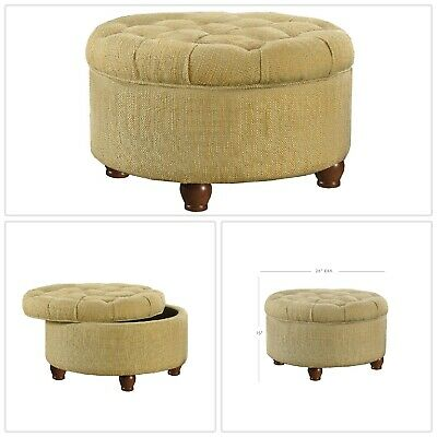 Fine Tan Round Tufted Storage Ottoman Footstool Fabric Alphanode Cool Chair Designs And Ideas Alphanodeonline