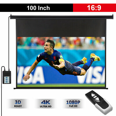 """100"""" Inch 16:9 HD Wall Ceiling Electric Motorized Projector Screen Home Cinema"""